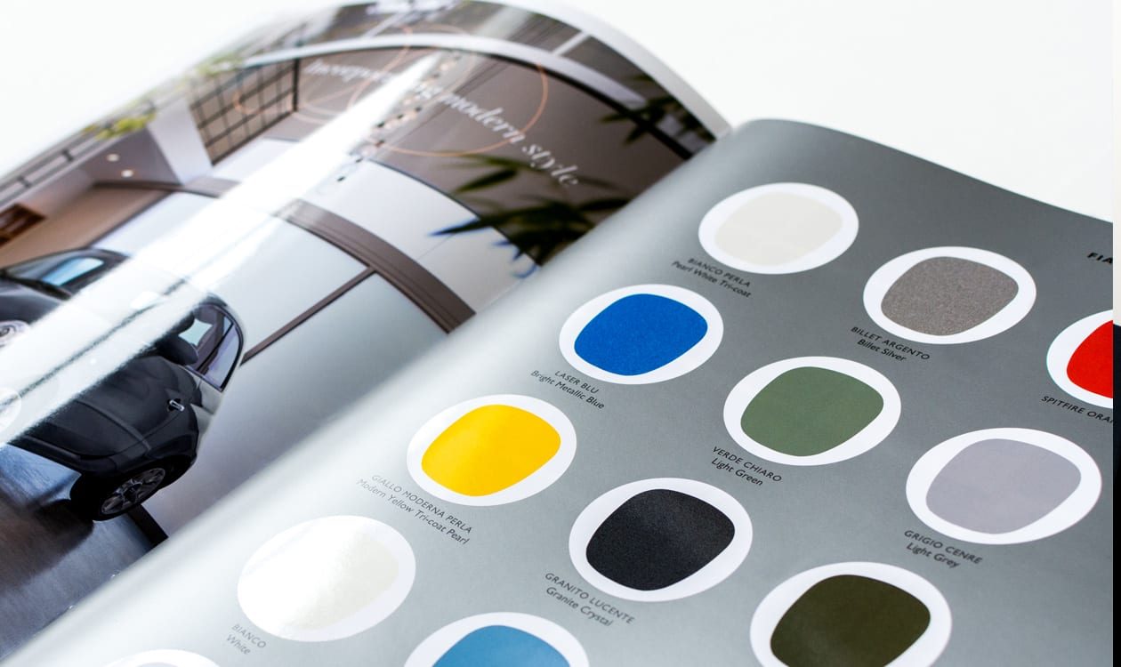 fiat brochure printed demonstrating high octane colour